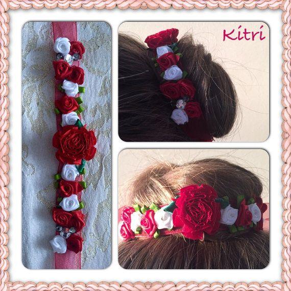 Kitri ribbon bun wrap  flower bun crown  hair bun wrap