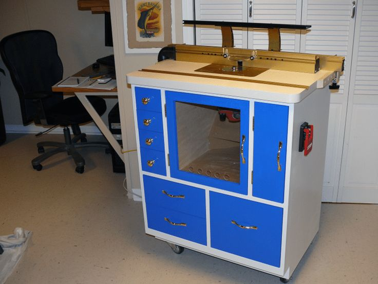 A blue router table.