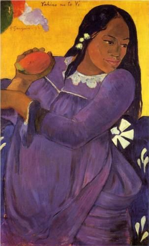 Woman with a Mango - Paul Gauguin  Fell in love with this painting the day I saw it in art class,i just loved the use complementary colors. Beautiful.
