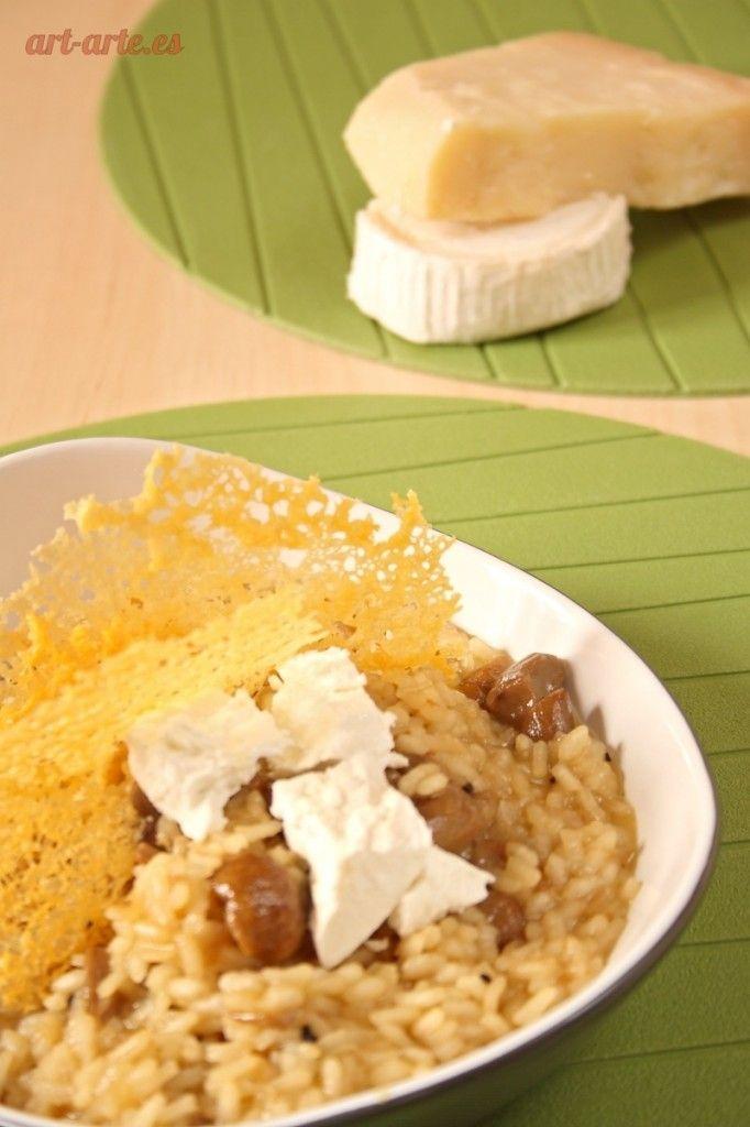 Rissoto de boletus con queso de cabra y crujiente de parmesano