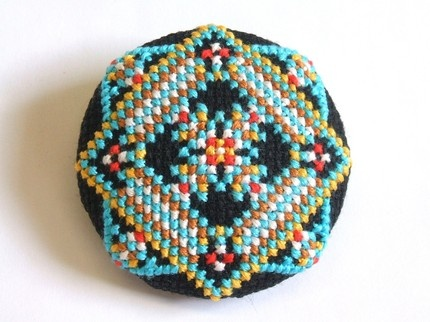 New Folk Large Cross stitch pin