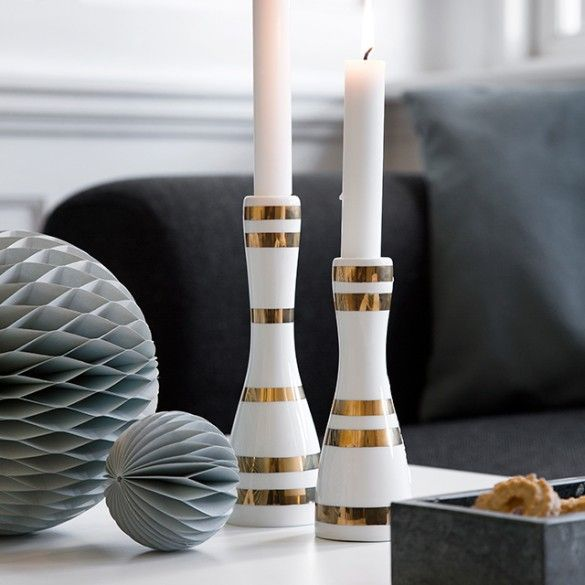 See Omaggio gold candle holders with exquisite, hand-painted stripes