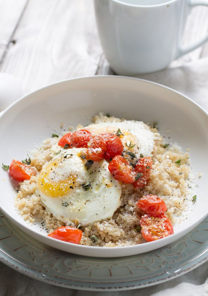 Roasted Tomatoes with Eggs and Quinoa Ingredients 6 cherry tomatoes, halved 1 tsp olive oil ½ C cooked quinoa 1 tbsp grated parmesan cheese, divided Pinch of sea salt 2 large eggs 1 tsp fresh chopped oregano Pinch of ground black pepper