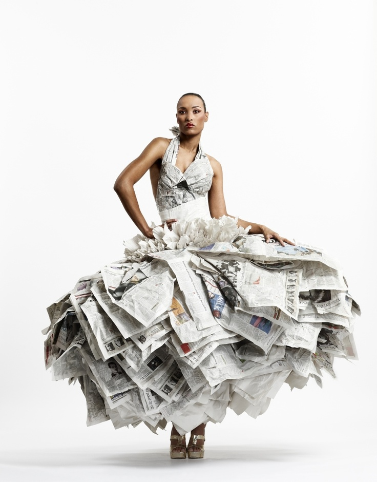 "Newspaper Dress Instead oaf a dress that made headlines, these headlines made a dress. ""Start spreading the NEWS."" [Sinatra tune]"