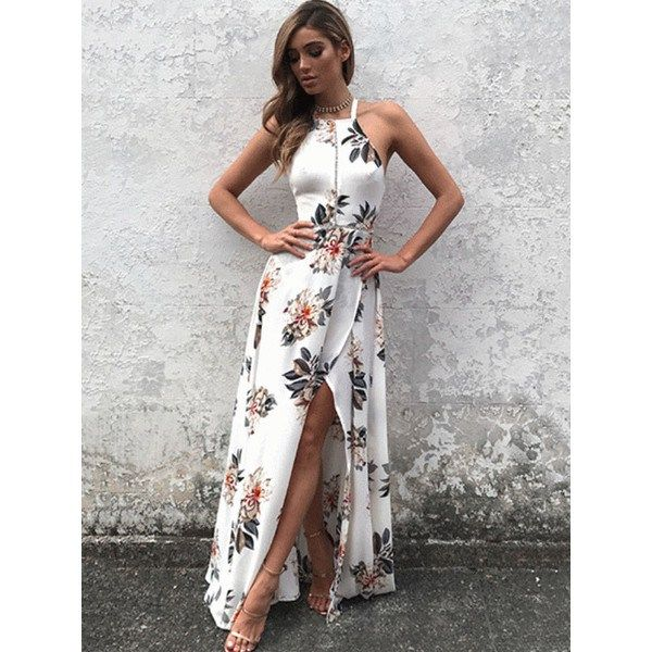 Deep V Maxi #FloralPrint Sheer Dress