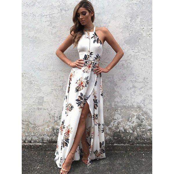 Deep V Maxi #FloralPrint Sheer Dress