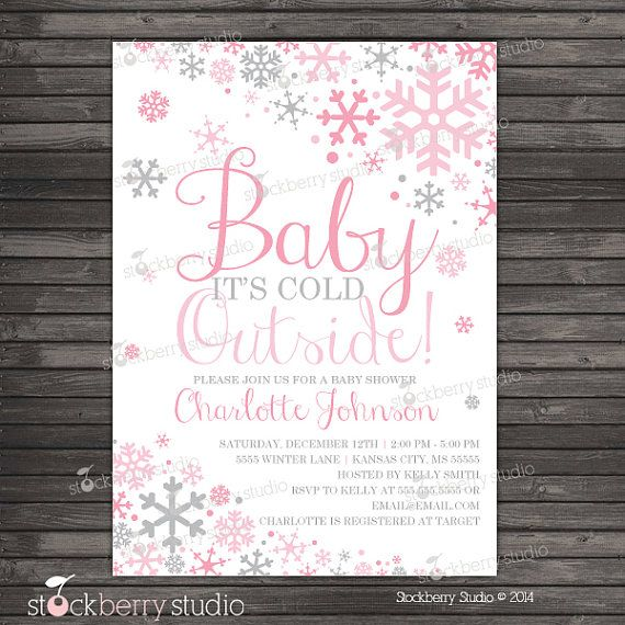 Its Cold Outside Winter Wonderland Baby Shower Invitation Pink and Gray - Snowflake Baby Shower Invitation