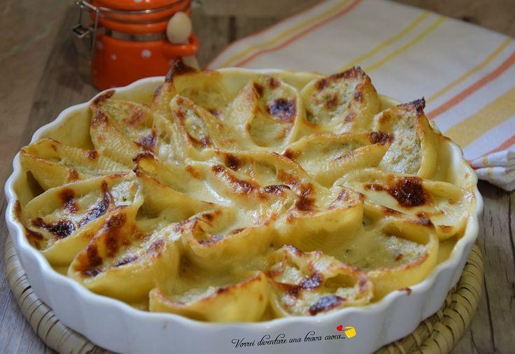 Oggi voglio proporvi una ricetta favolosa, un primo piatto di pasta ripiena, adatto per ricorrenze, per feste o anche un pranzo domenicale in famiglia: i conchiglioni ripieni con carciofi e ricotta!