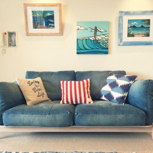 nanaさんの、リビング,カフェ風,デニムソファ,西海岸風 インテリア,のお部屋写真