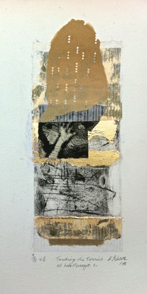 Touching the Terrain at Lake Mungo 1, 3/8, V.E. 2015, intaglio, chine-colle and silver leaf by Elaine d'Esterre at elainedesterreart.com and http://www.facebook.com/elainedesterreart