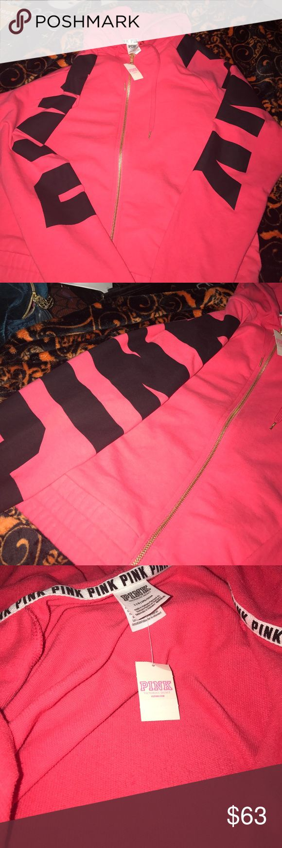 Pink zip up hoodie NWT has pink logo on sleeves material is like a towel material PINK Victoria's Secret Other
