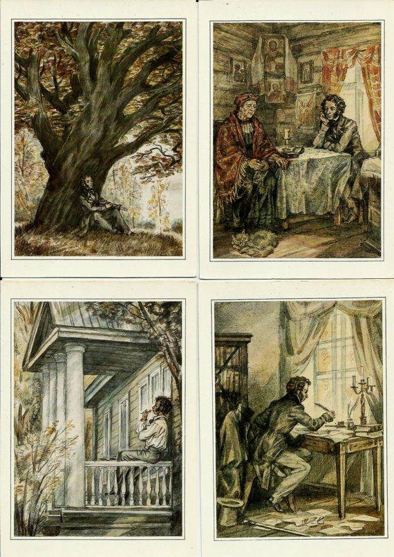 Pushkin - Russian Vintage postcardsset of 32 by LucyMarket, $55.00