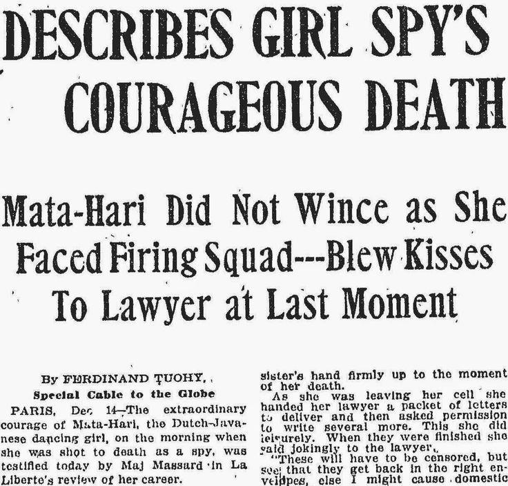 #MataHari | Execution | Read online at: http://www.eyewitnesstohistory.com/matahari.htm | Henry Wales/British Reporter