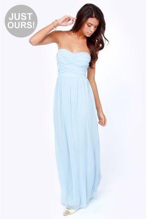 LULUS Exclusive Slow Dance Strapless Light Blue Maxi Dress #lulus and #holidaywear #winterwonderland
