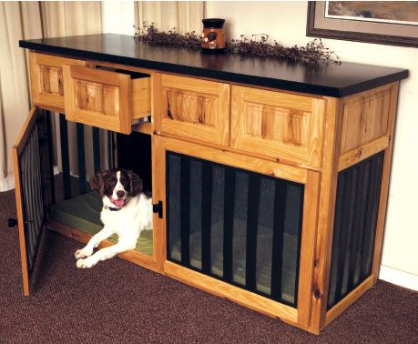 amazing dog crate replacement.  maybe just one crate (the girls can share) with the sound system above it or doing both crates and using it as a sofa table behind the couch.