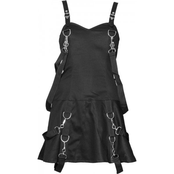 Black gothic women's dress with swivel hooks and bondage straps, by Aderlass Clothing.