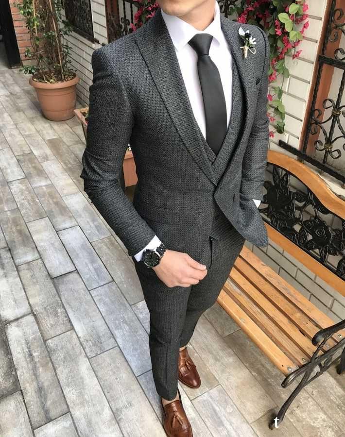 82d3e746a21c6 Terziademaltun - İtalyan stil slim fit ceket yelek pantolon koyu gri takım  elbise T2976