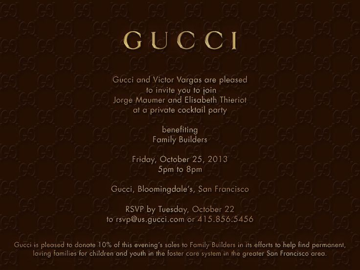Gucci Invite For Launch Party For Luxetigers Fashion Fund For