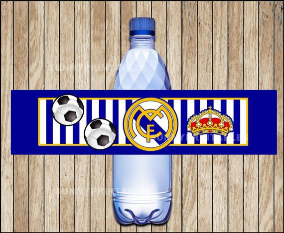 Real Madrid water bottle labels printable Real by Sunnyprintables