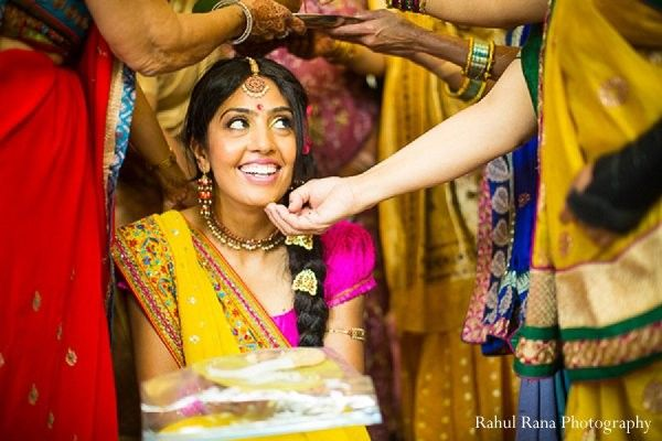 This bride prepares for her upcoming Indian wedding with a festive pithi celebration!