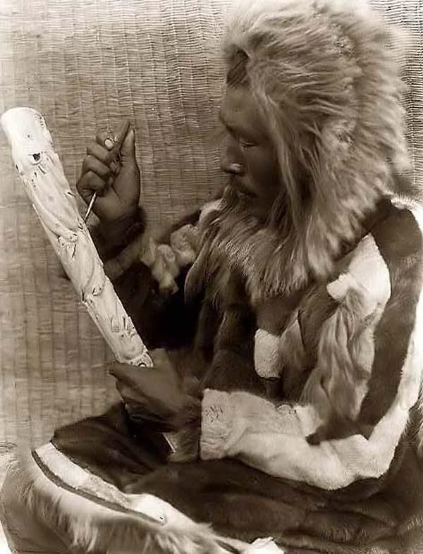 Inuit Man Carving Ivory