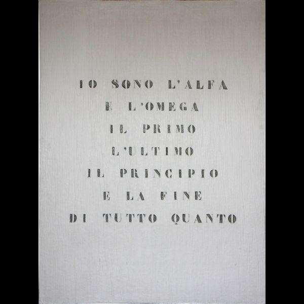 Vincenzo Agnetti, Ritratto di Dio, 1970, feltro inciso e dipinto, cm 120 x 80 x 2,5, Archivio Vincenzo Agnetti, Milano