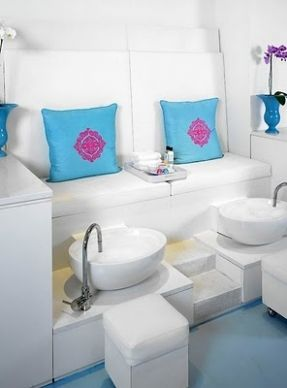 cute pedicure chairs | This is one of the most gorgeous pedicure set ups ive seen!