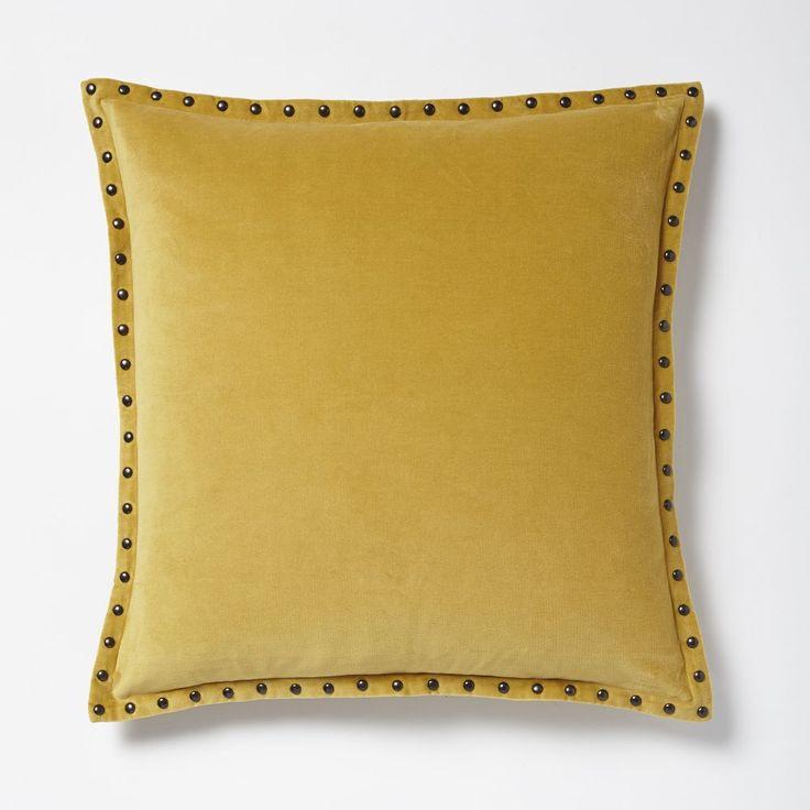 Studded Velvet Cushion Cover - Horseradish