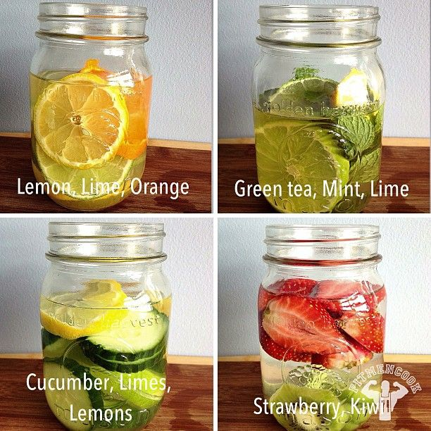 4 waters to help detoxify, energy and hydration. Put fruit in water and let it sit for 30 min. before drinking.  (1) Lemon. Lime, Orange - digestion, vitamin C, immune defense, heartburn. Drink at room temp. (2) Green tea, Mint, Lime - fat burning, digestion, headaches, congestion. (3) Cucumber, Limes, Lemons - water weight management, bloating, appetite control, hydration, digestion. (4) Strawberry, Kiwi - cardiovascular health, immune system protection, blood sugar regulation, digestion.