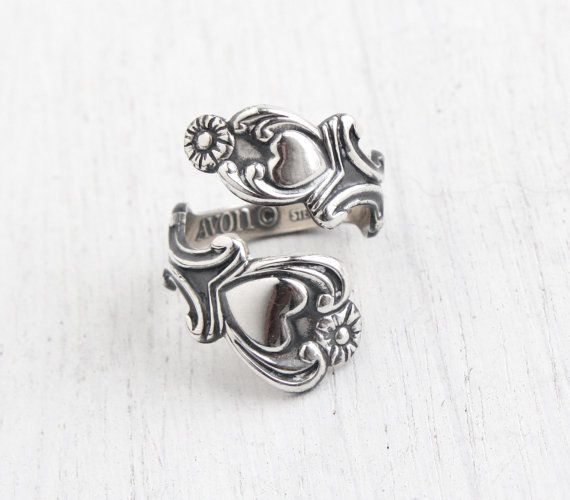 Vintage Sterling Silver Spoon Ring Retro Signed Avon