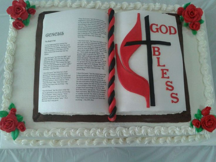 Open Bible Cake - Open Bible cake for our outgoing pastor. Used edible image ink on rice paper for the bible. Buttercream frosted with fondant accents.
