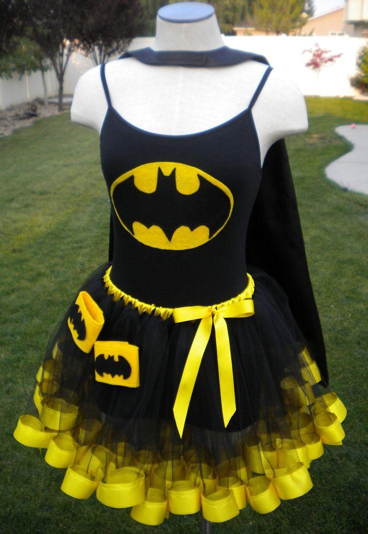 Batman Super Hero Costume Cape Mask Cuffs Tutu. $79.00, via Etsy.