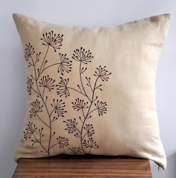 "Ixora Throw Pillow Cover 18"" x 18"" - Embroidered Decorative Pillow Cover - Light Brown Linen with  Floral Embroidery"