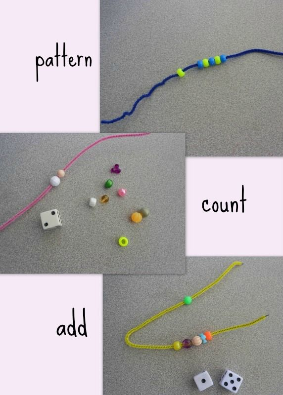 Maths fun with pipe-cleaners, beads & dice