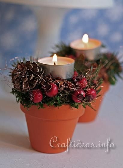 Terracotta Pots - Christmas Tea Light Holders