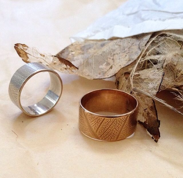 Leaf rings by Claire Taylor (Sterling silver & 18ct rose gold)