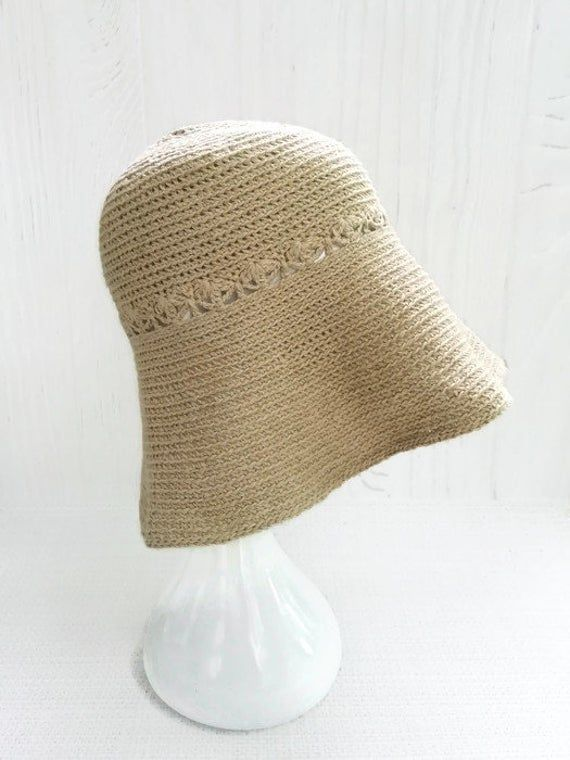 Crochet summer hat of linen Packable sun hat woman Cotton casual hat Large bucket hats Panama hats for women Knit hipster hat – Products