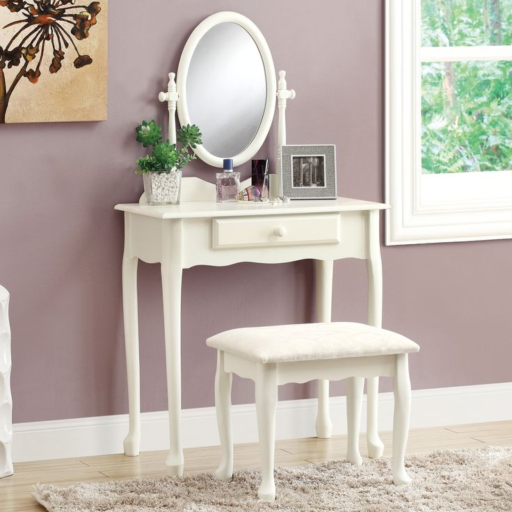 Have to have it. Monarch Bedroom Vanity Set - Antique White - $198.99 @hayneedle