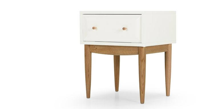 Willow Bedside Table, Oak and White