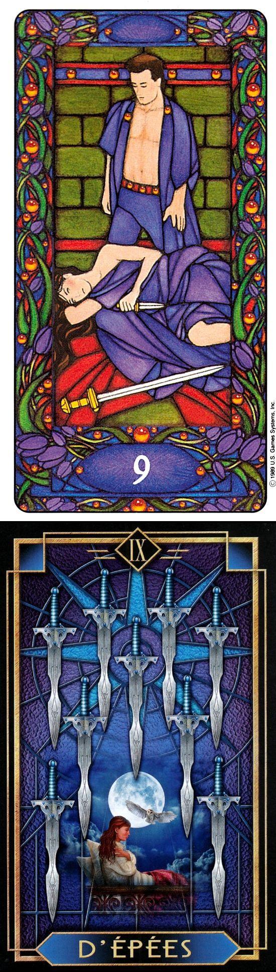 Nine of Swords: nightmares and illogical (reverse). Matt Meyers Tarot deck and Decoratif Tarot deck: parrot reading, besplatni tarot vs psychic cards. The best tarot card tattoo and fortune telling tattoo.
