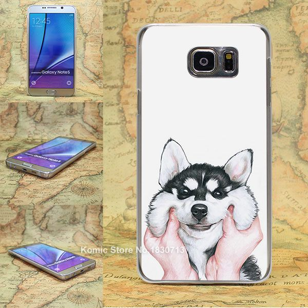 lovely Siberian Husky Pattern transparent clear hard Cover Case for Samsung galaxy note 2 3 4 5 s4 mini s6 edge+