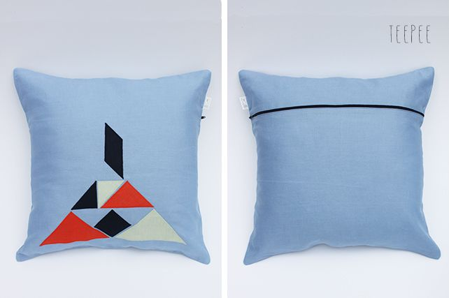 Teepee Linen Cushion by PINT SIZE GOODS (The Tangram Tribe Collection)