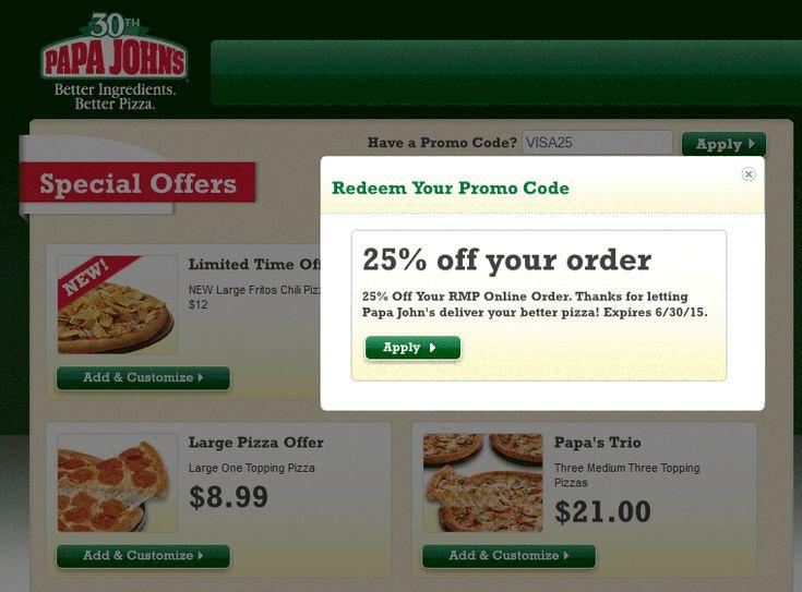Pinned November 21st: 25% off at Papa #Johns pizza via promo code VISA25 #coupon via The #Coupons App