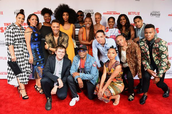 "Antoinette Robertson Photos - Dascha Polanco, Seleynis Leyva, Adrienne C. Moore, Jim Strouse, Cleo Anthony, Jessica Williams, Spike Lee, DeWanda Wise, Lyriq Bent, Logan Browning, Anthony Ramos, Tonya Lewis Lee, DeRon Horton, Ashley Blaine Featherson, Antoinette Robertson, Brandon P. Bell and Marque Richardson attend the Premiere Of Netflix Original Film ""The Incredible Jessica James"" At The 2017 Essence Festival"