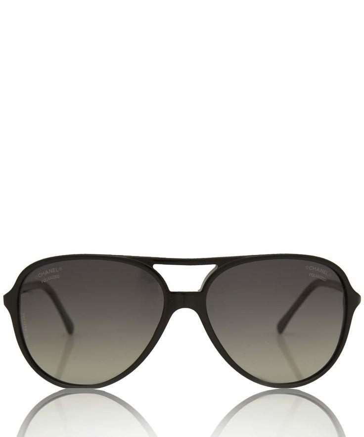 Chanel Black Aviator Polarised Sunglasses | Women's Sunglasses by Chanel | Liberty.co.uk