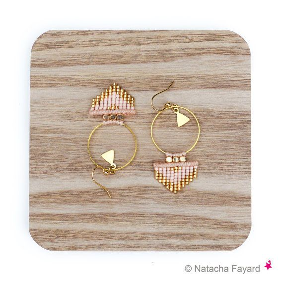 Peach pink blush nude and gold - Miyuki delica and micro macrame woven earrings…