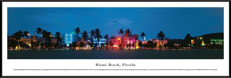 Miami Panoramic Picture Framed, Florida