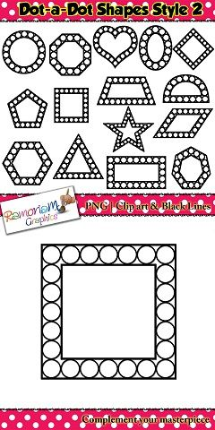 Dot-a-Dot Shapes clip art, ideal to use when teaching shapes $