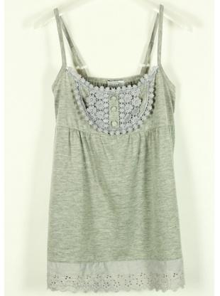 gray collarless sleeveless gallus cotton vest