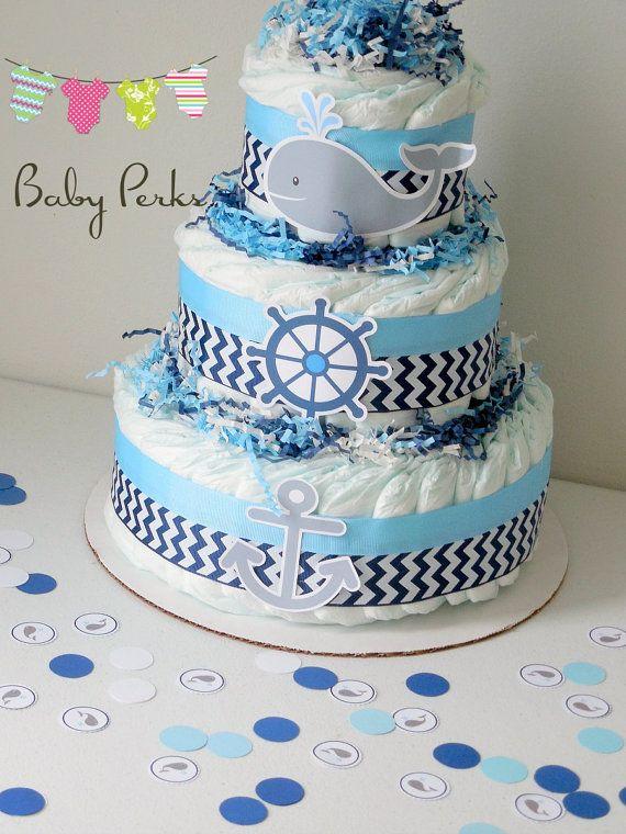 Ducha bebé náutica centros de mesa torta de pañales por MsPerks